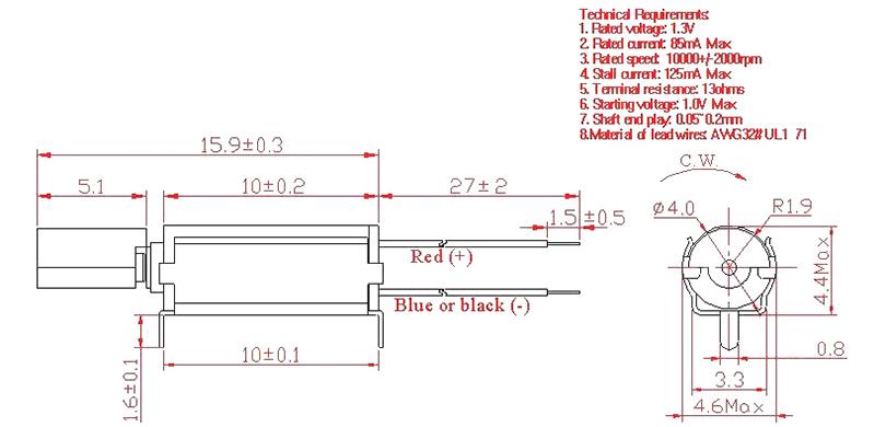 Z4SL2A0280131 PCB Mounted Thru-Hole Vibration Motor mechanical drawin