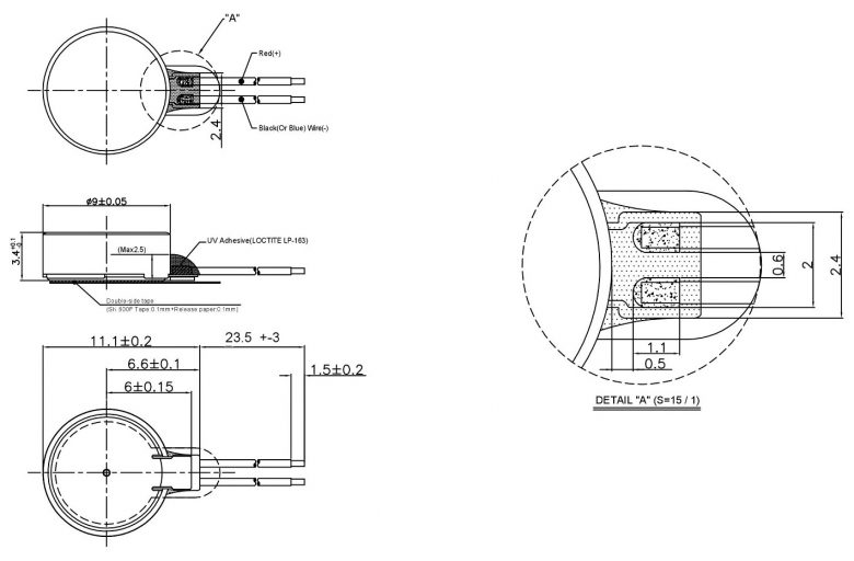 W0934AB001G BLDC Coin Vibration Motor mechanical drawing