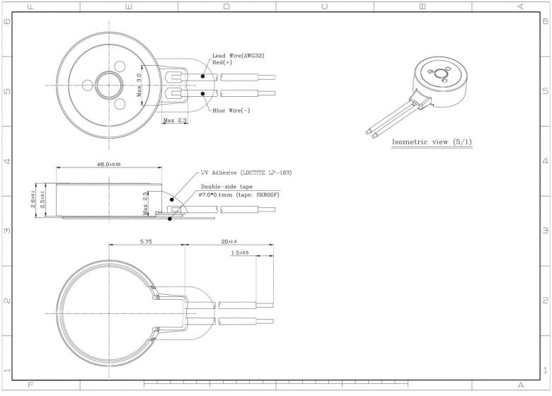 G0825001D smallest LRA coin vibration motor mechanical drawing
