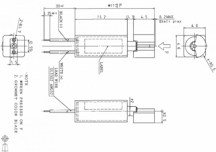 Z4KL2B0780012P Low Current Cylindrical Vibration Motor - mechanical drawing