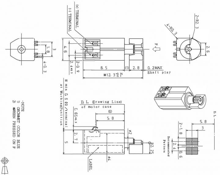 Z4TH7B2120042P Low Current Spring Contacts Cylindrical Vibration Motor - mechanical drawing