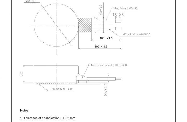 G0832022D LRA Linear Vibration Coin Motor mechanical drawing