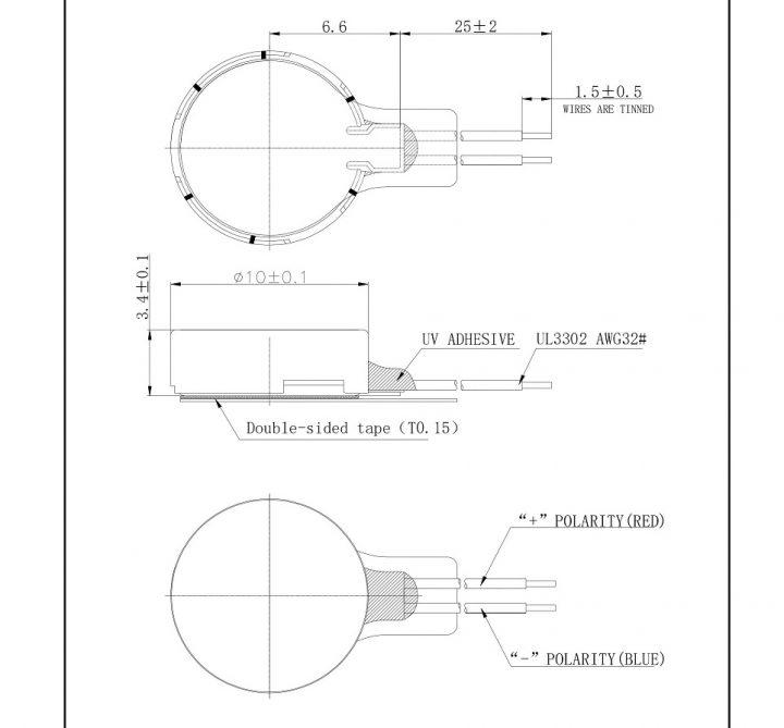 C1034H025L Coin Vibration Motor 1.5V - mechanical drawing