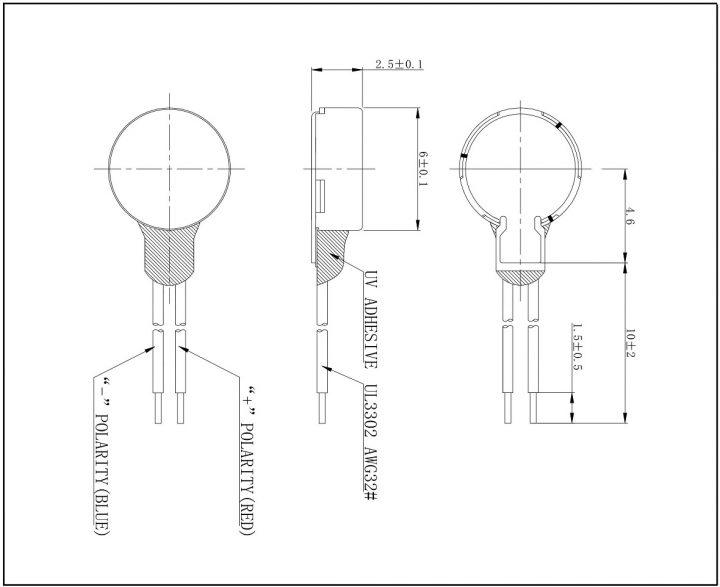C0625B001L Coin Vibration Motor Mechanical Drawing