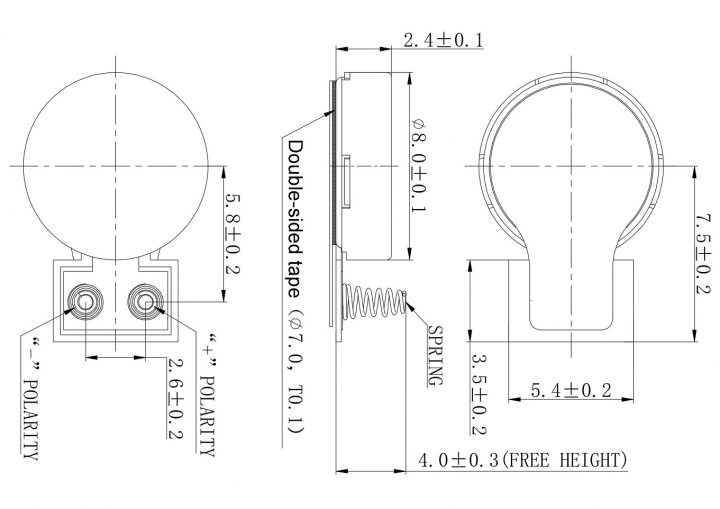 C0824K002L Coin Vibration Motor Spring Contacts - Mechanical Drawing