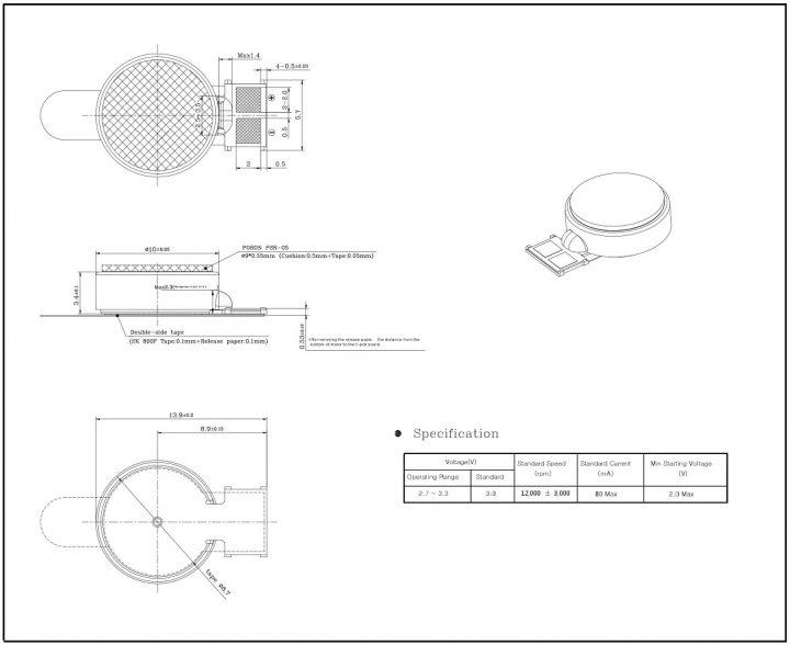 C1034B400D 3V Coin Vibration Motor Mechanical Drawing