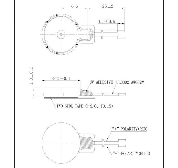 C1018B001L Thin Coin Vibration Motor mechanical drawing