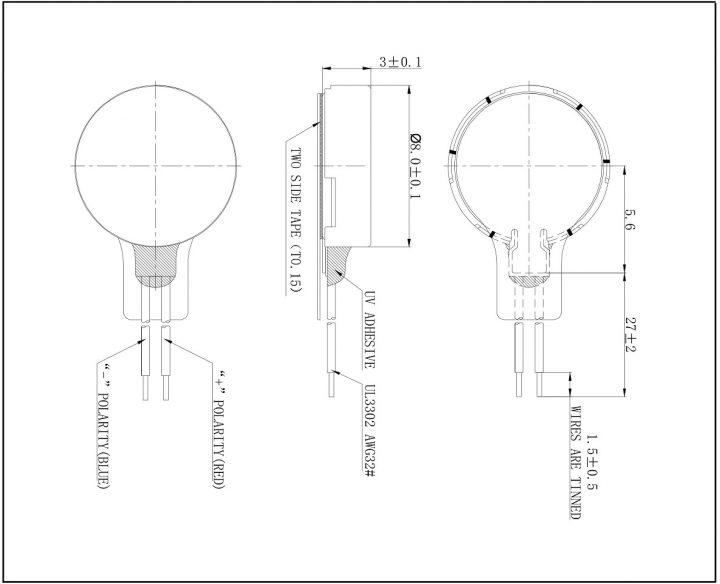 C0830B001L 3V Coin Vibration Motor mechanical drawing