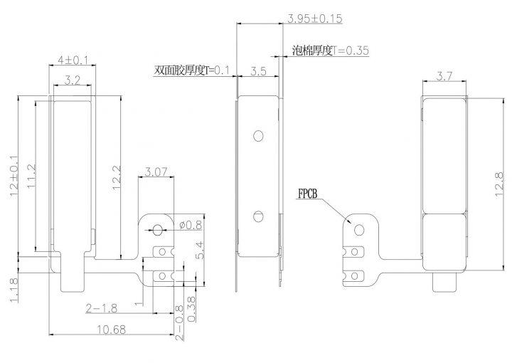 VLV041235L LRA LINEAR VIBRATION MOTOR Drawing