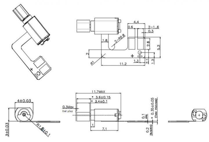 Z30F4B8196813L FPC Vibration Vibrator Motor Drawing