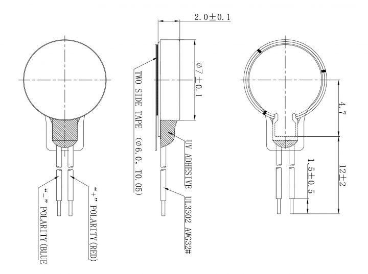 C0720B015F Coin Vibration Motor Mechanical Drawing
