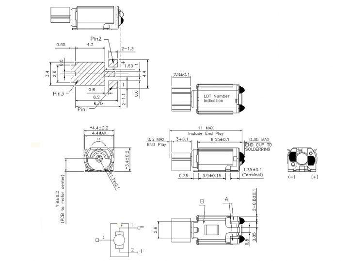 Z30C1T8219732L SMD Haptic Feedback ERM Vibration Motor mechanical drawing
