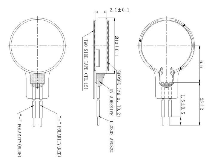 C1020B111F Thin Coin Vibration Motor Mechanical drawing