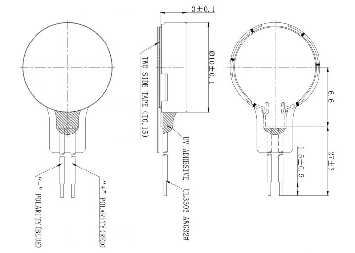 C1030B028F 10mm Coin Vibration Motor mechanical drawing