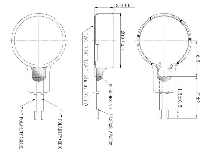 C1034B018F Coin Vibration Motor mechanical drawing