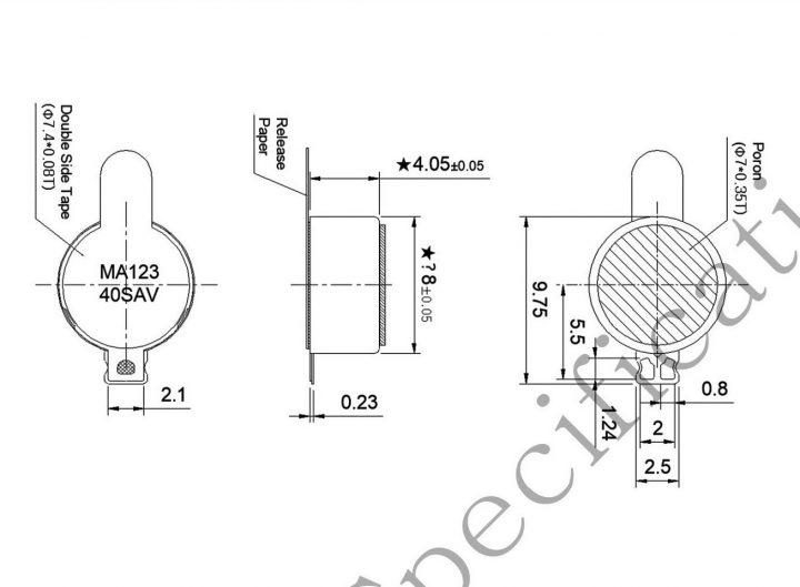 G0840001D LRA coin vibration motor mechanical drawing