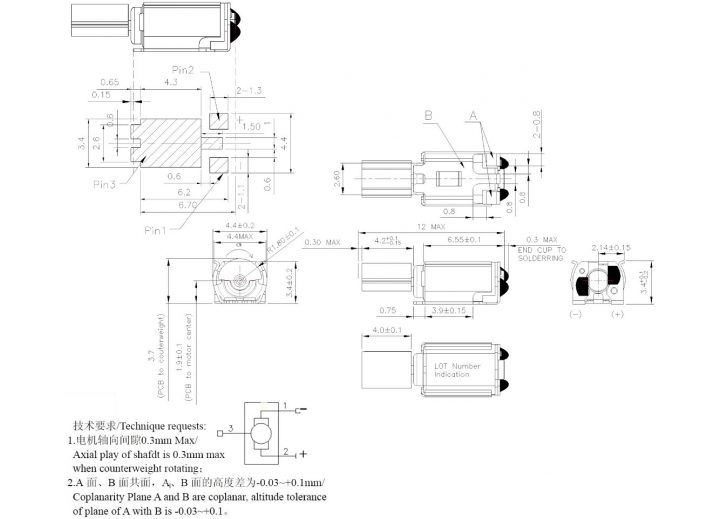 Z43FM1B8230001L Cylindrical core SMT Motor Mechanical Drawing