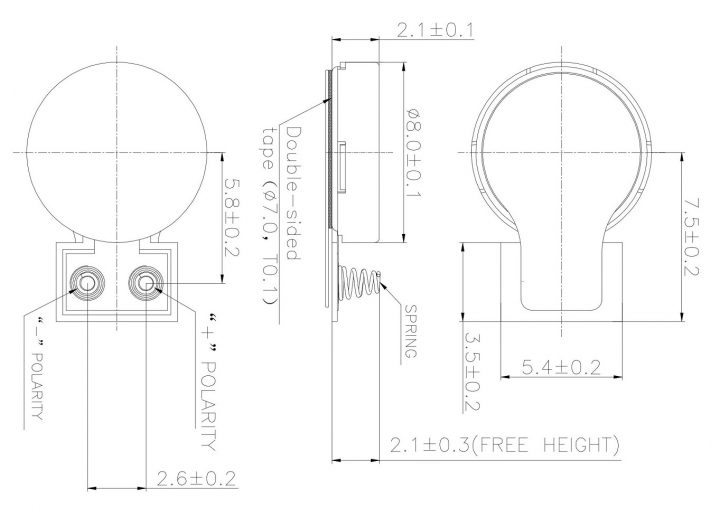 C0820K001L Spring Contacts Coin Vibration Motor Drawing